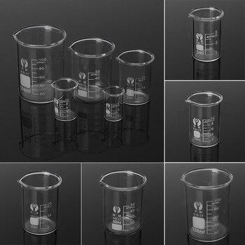 5 шт. набор лабораторных стеклянных стаканчиков 5/10/25/50/100 мл лабораторные измерительные стеклянные приборы из боросиликатного стекла школьная лаборатория набор стеклянных стаканчиков