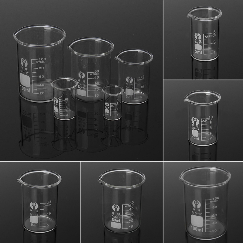 5Pcs Lab Glass Beaker Set 5/10/25/50/100ml Borosilicate Glass Laboratory Measuring Glassware School Study Lab Glass Beaker Set
