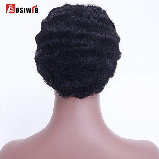 AOSIWIG Courts Bouclés Noir Mignon Perruque pour les Femmes Noires Africaines Afro Cheveux Synthétiques Perruques Pour Les Femmes Noires Cheveux Courts 5
