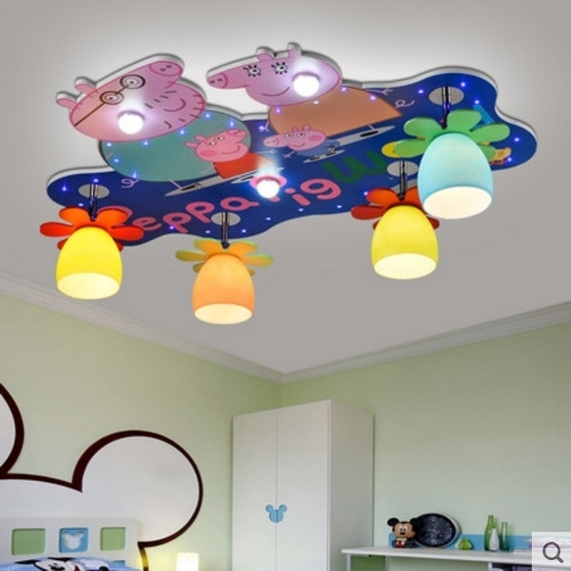 Cartoon Peggi pig pecs children room ceiling lamp girl and boy s     Cartoon Peggi pig pecs children room ceiling lamp girl and boy s bedroom  creative kids ceiling lamp led free shipping in Ceiling Lights from Lights