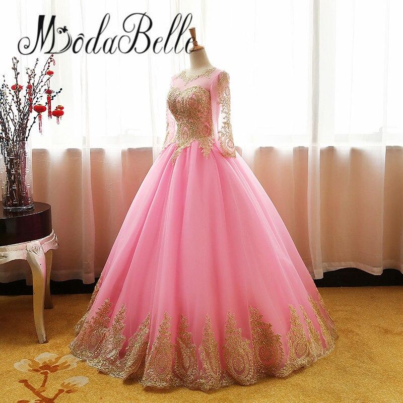 Modabelle vintage rosa vestido de fiesta puffy tulle Encaje oro ...