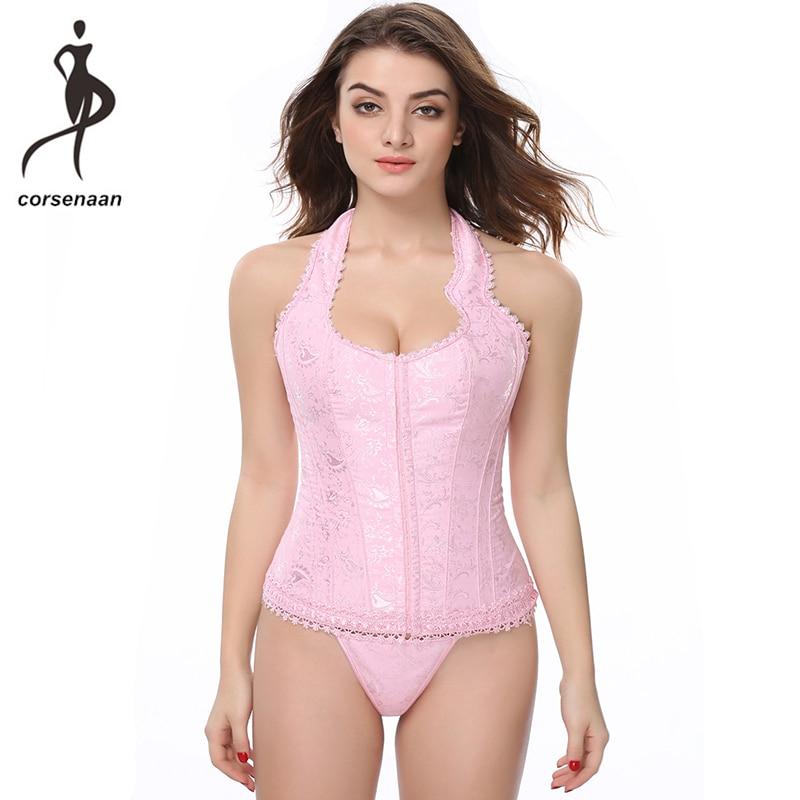 Hooks Closures Pink Jacquard Laced Waistcoat   Bustier   Halter Overbust   Corset   Lace Up Boned Waist Cinchers Shapewear Top 842#