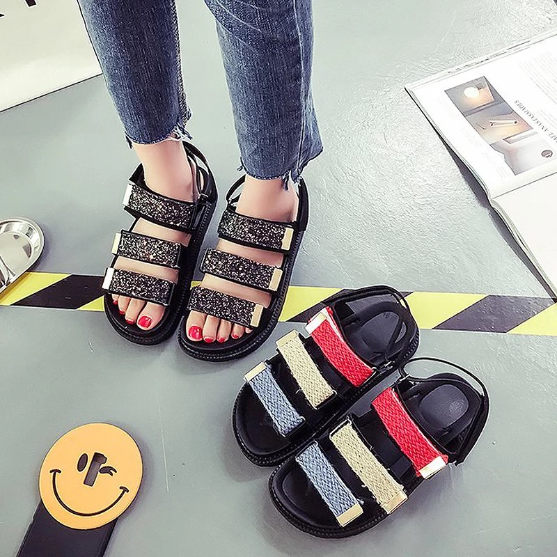 Summer Sandles 2018 New Spring Summer Women sandals female robe thick platform buckle with Roman light Black sandals shoes