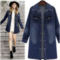 2016 Autumn and Winter New Large Size Women's Jacket Long Section Solid Color Single-breasted Denim Jacket AXD1946