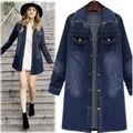 2016 Outono e Inverno Novas Tamanho Grande das Mulheres Jaqueta Longa Seção de Cor Sólida Single-breasted Jaqueta Jeans AXD1946