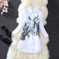 Almoda 2016 new chegada das mulheres camisas bordadas tradicional chinesa plum bordado manga 3 trimestre camisa de algodão mulheres