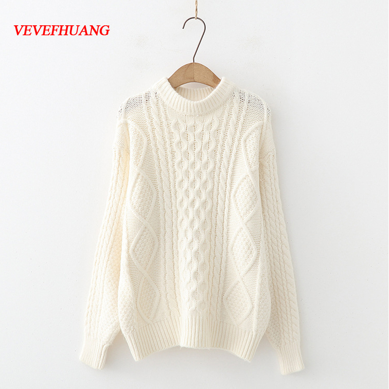 VEVEFHUANG 2018 Women Autumn Winter New Sweater Vintage Long Sleeve Knitting White Green Color Sweater Femme Loose Pullovers
