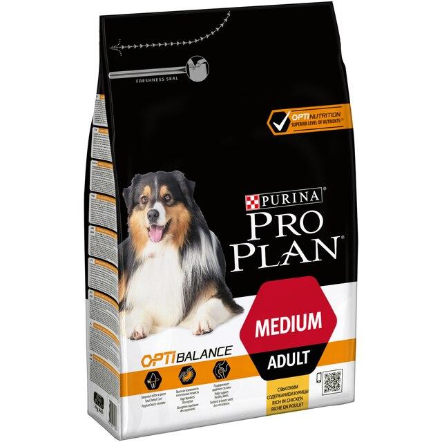 Сухой корм Pro Plan для взрослых собак средних пород с комплексом OPTIBALANCE® с высоким содержанием курицы, Пакет, 3 кг