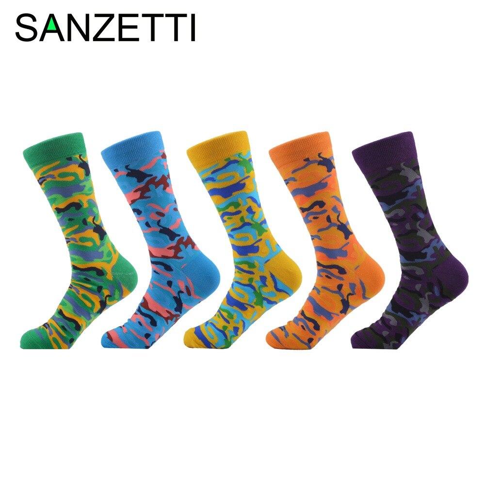 Sanzetti 5 Paare/los Neuheit Männer Gekämmte Baumwolle Socken Bunte Camouflage Muster Lustige Casual Kleid Crew Socken Uns 7,5- 12 Geschickte Herstellung