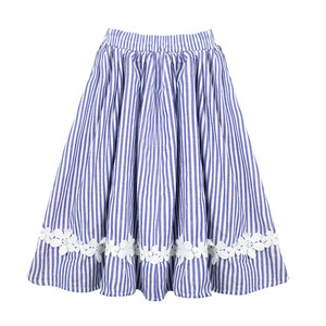 Image 1 - Free Shipping Baby Girls Kids Clothes Tutu Skirt Lace Flower Striped Ruffle Girl Skirts Children Long Cotton Pleated Skirt 0 14T