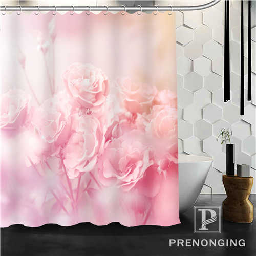 Custom Shower Curtain Pink Rose Flower Home Decoration Bathing Curtains Cloth Waterproof Polyester S-171212#09-10