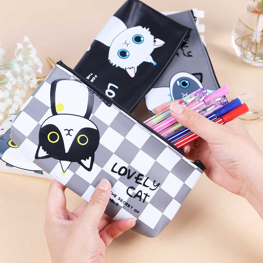 New Cartoon Lovely Cat Pencil Bag Papelaria Waterproof PU Pencil Case Stationery Material Escolor School Supplies