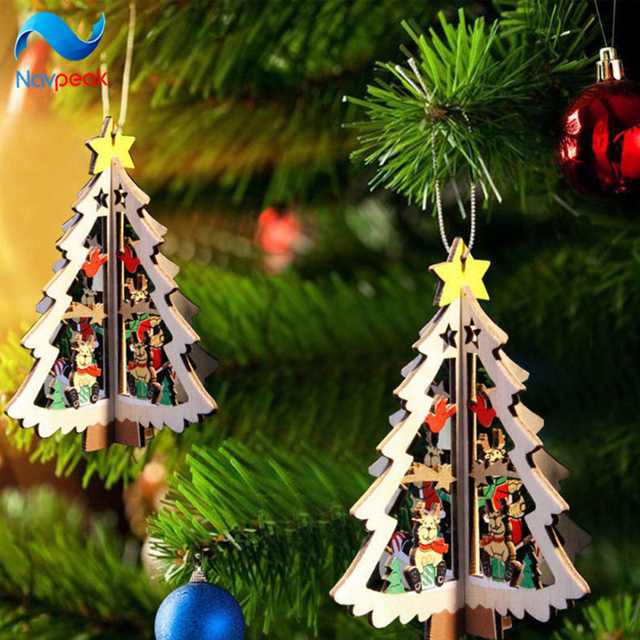 Us 32 99 50pcs Lot Christmas Tree Ornament Hanging Xmas Tree 3d Wooden Christmas Pendants For Home Party Decorations In Pendant Drop Ornaments