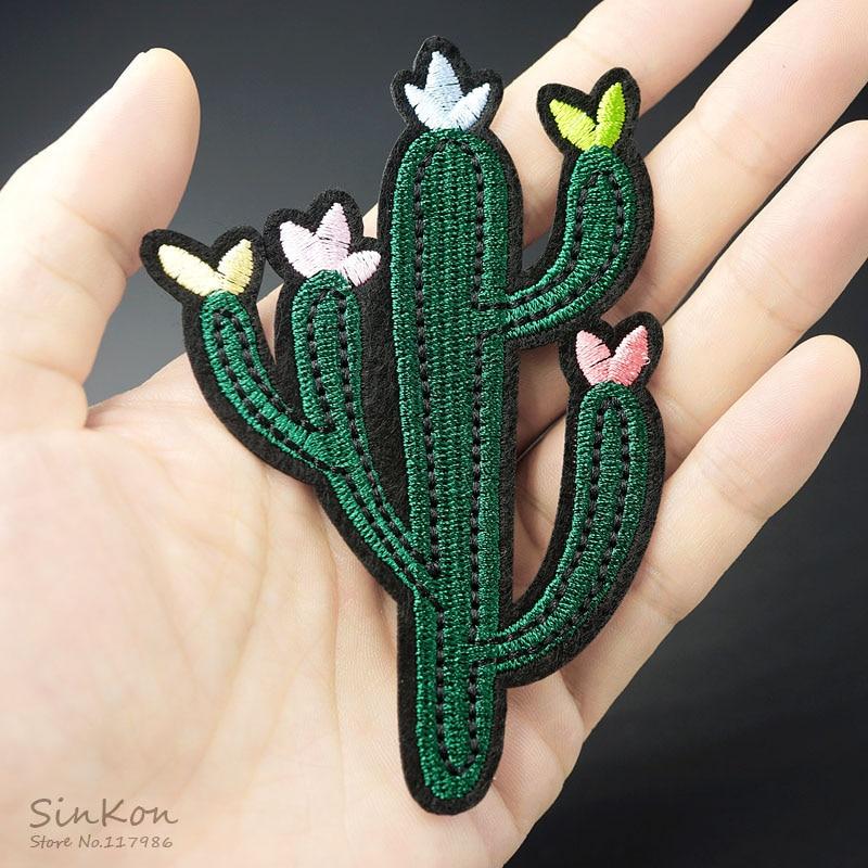 Tamaño de Cactus: 7,0x10,4 cm, Parche de hierro bordado, apliques, pegatinas para ropa de costura, prendas de vestir, accesorios, insignias