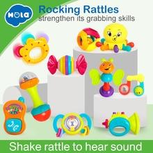 Купить с кэшбэком 10PCS/Lot Baby Toys Musical Instrument Colorful Infant Animal Handbell Rattle Shaker Bell Ring Ball Toy Newborns Gifts