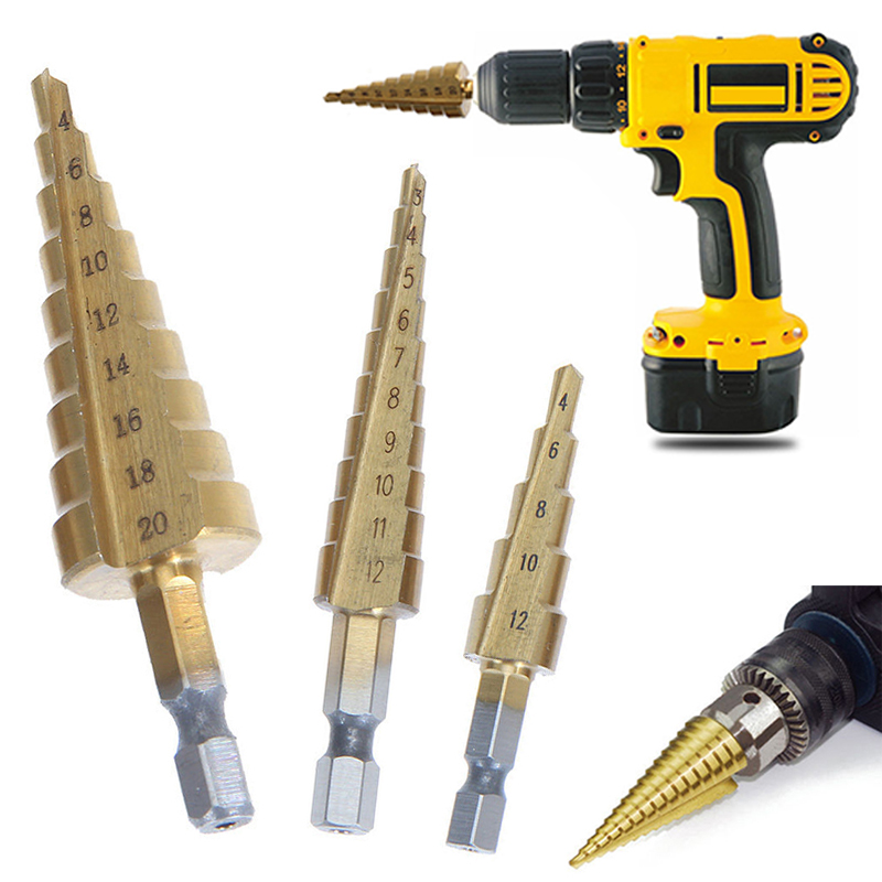 3pcs 3-12mm 4-12/20mm Large HSS Steel Step Cone Drill Bit Titanium Hole Cutter For Power Tools jigong 3pcs set titanium step drill bits hss power tools high speed steel hole cutter wood metal drilling 3 12mm 4 12mm 4 20mm