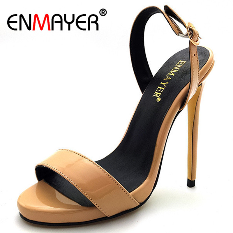 ENMAYER Summer Sexy Sandals Women Open Toe Slingback Extreme High Heels Buckle Strap Gold Graceful Party Shoes Plus Size 34-46 summer causal open toe buckle high heeled thick waterproof platform sandals for women