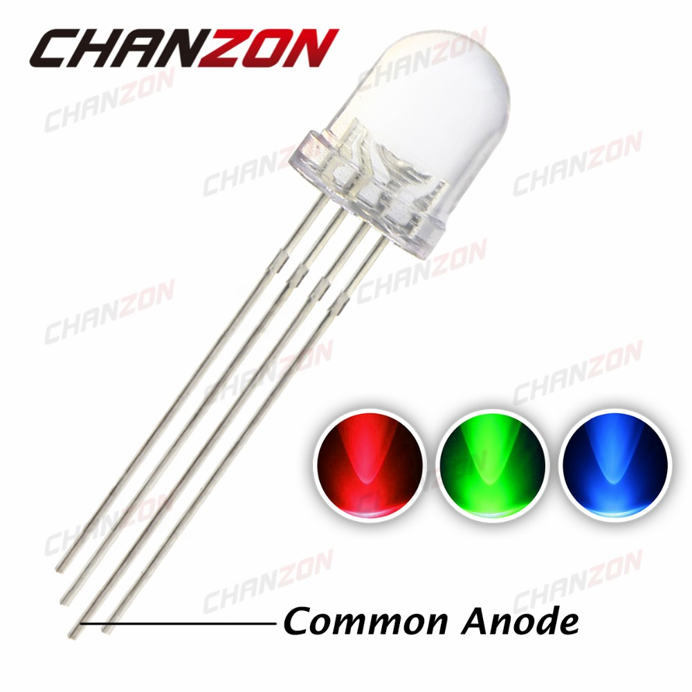 50Pcs 5mm 4pin RGB Diffused Tri-Color Common Anode LED Red Green Blue A