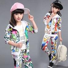 2016 Spring Girls Clothes Jacket Print Zipper Kids Hoodies+Pants Kids Tracksuit For Girls Clothing Sets Girls Sport Suit