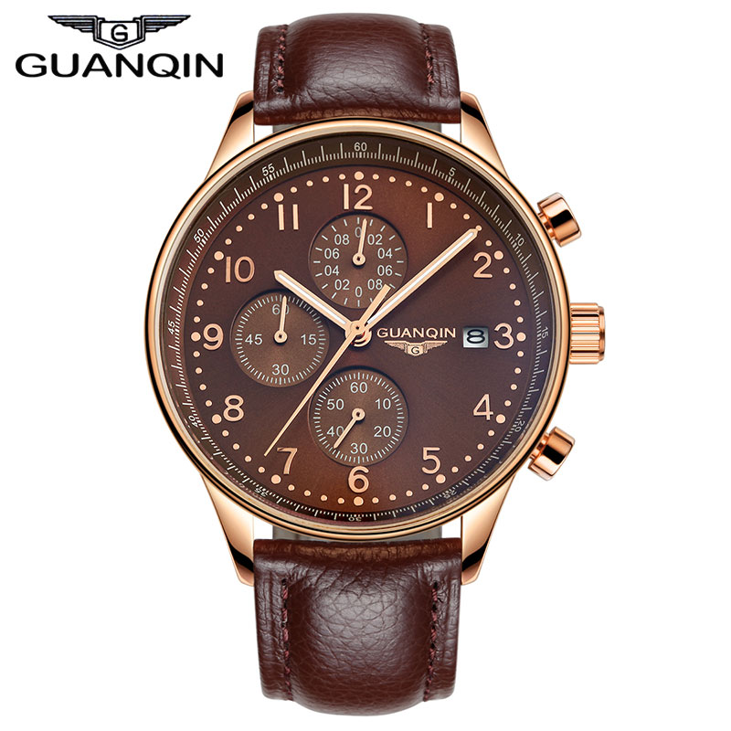 ФОТО Top Brand luxury GUANQIN Fashion Quartz Watch Men Big Dial Leather Strap Watch male Casual Watch Men's business clock hour gift