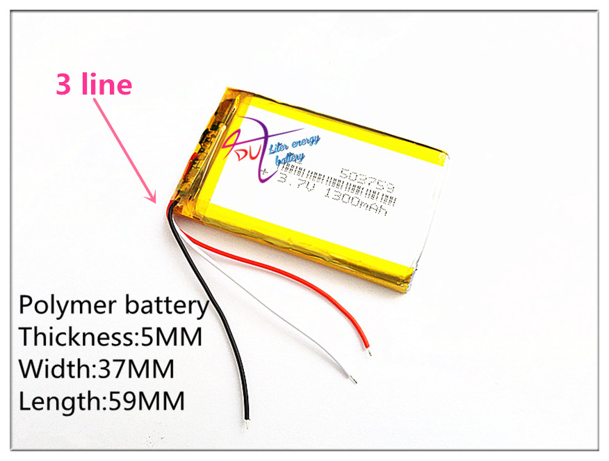 3 line Liter energy battery 3.7V e road route HD-X9 X10 7 inch 1300MAH three line 503759 navigator battery enough 053759