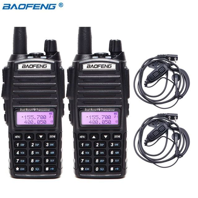 2pcs BaoFeng UV 82 5W Walkie Talkie Dual Band VHF/UHF Double PTT BAOFENG uv 82 Amateur portable Radios