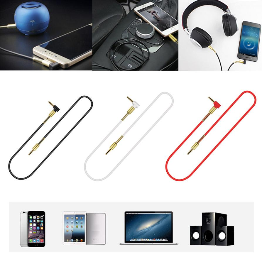 2017 Top sale 1m 3.5mm Jack Elbow Male to Male Stereo Headphone Car Aux Audio Extension Cable for iPhone for Samsung