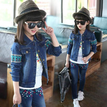 Spring fall Style Girls Embroidered flowers children clothing set Denim jacket + Jean pant 2 piece set For Kids Wear to 2-12Y
