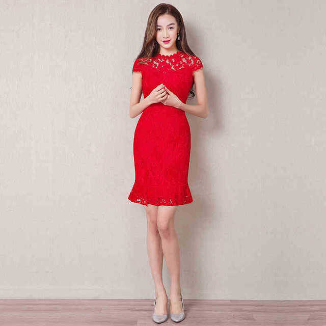 Oriental Evening Dress Sexy Chinese Dresses Modern Cheongsam Mini Qipao  Lace Red Bride Traditional Cheongsams Dress c16c16c1de9b