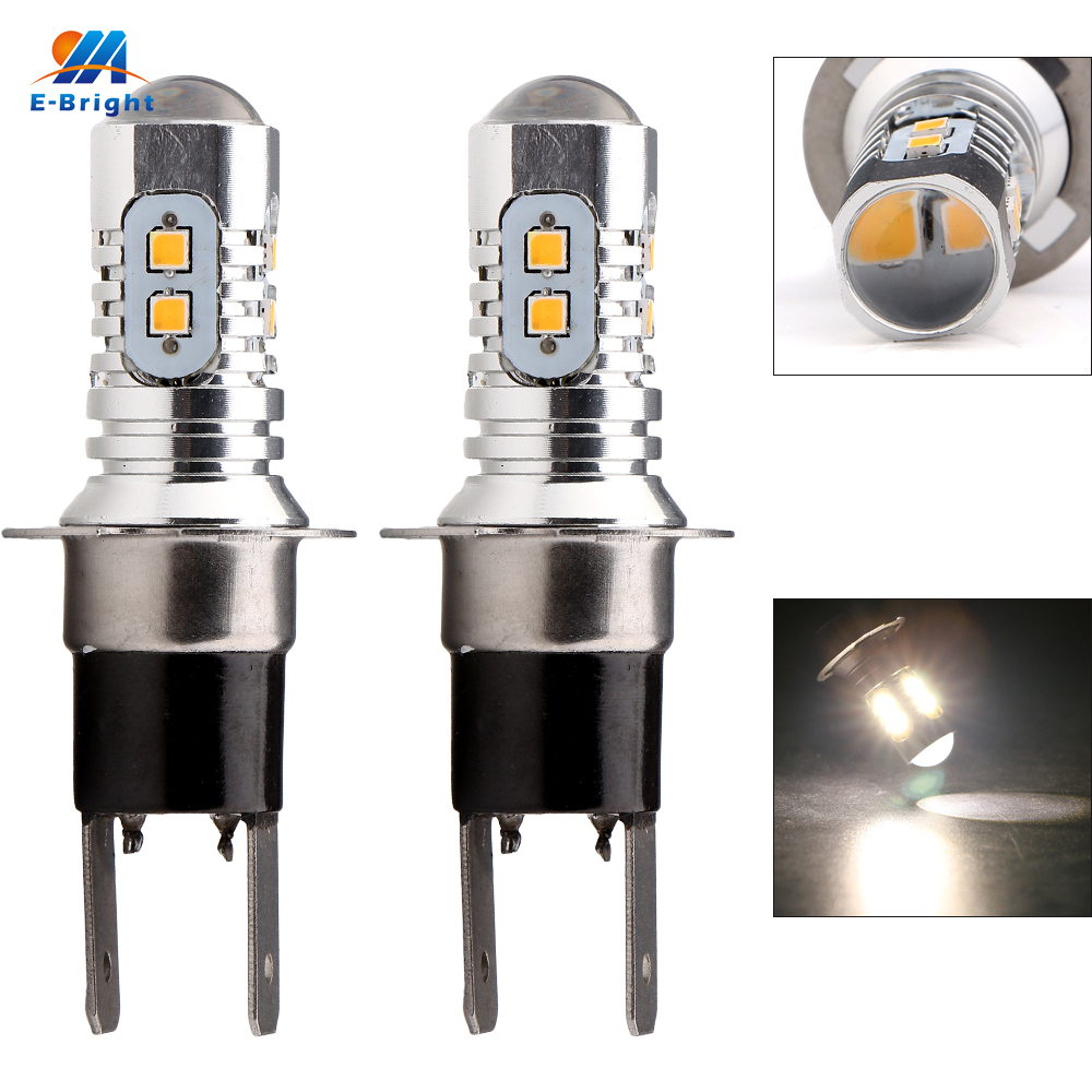 2PCS H3C 2323 10 SMD 12V 24V 10 Led 800LM Car DRL Lens Fog Led Light Lamp Auto Turn Signal Light Led Lamp High Power