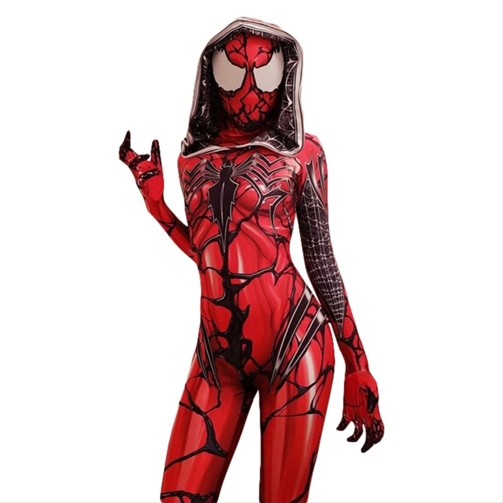 Venom Symbiote Spiderman Gwen Stacy Carnage Jumpsuit Cosplay Costume Adult Women Halloween Carnival Costumes
