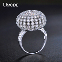 UMODE Brand White Gold Plated Fashion Jewelry Ring Mirco AAA CZ Pave Shambhala Ball Shaped Cocktail