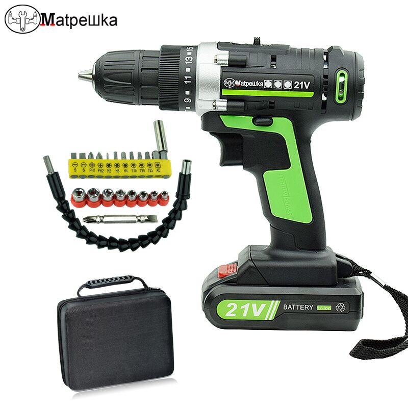21V Power Tools Household Cordless Electric Screwdriver Lithium-ion Battery Screwdriver Rechargeable Mini Electric Drill + Gift цена