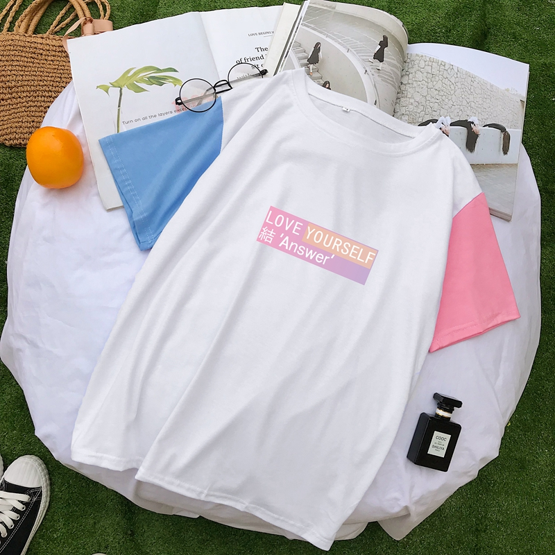 Korean Style Women T Shirt Cotton Summer Harajuku Kpop Love Yourself Answer Album Printed Pastel Color Tops Tee Shirt Femme