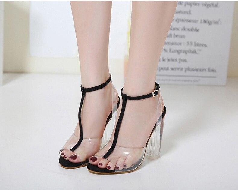 HTB1OhldXjzuK1RjSspeq6ziHVXaD Eilyken 2019 New PVC Women Sandals Sexy Clear Transparent Ankle Strap High Heels Party Sandals Women Shoes Size 35-42