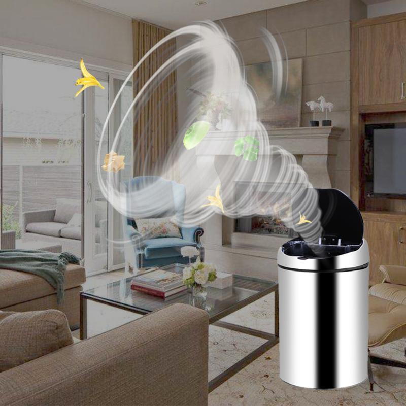 Poubelle intelligente de capteur d'acier inoxydable poubelle automatique sans fil d'induction poubelle de toilette de cuisine poubelle 3L/4L/6L/8L/9L E5M1