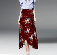 Spring Women Vintage Floral Print Bohemian Long Skirts Women Summer Elegant Beach Skirt Boho High Waist