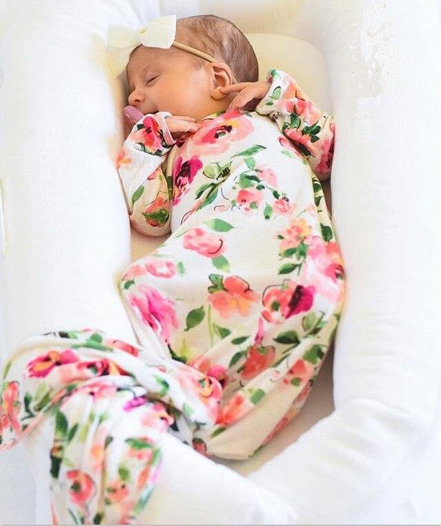 2017 Newborn Lovely Baby Infant Floral Print Long Sleeve Fishtail Bow Baby Sleeping Bag Swaddle Sack Stroller Footmuff Envelope ...