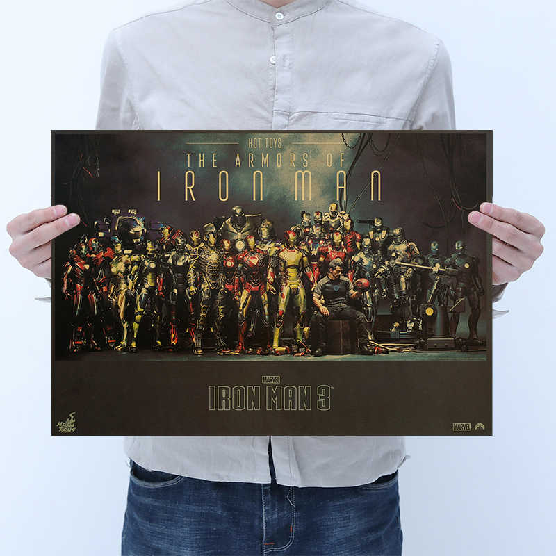 1PCS Marvel movie poster Iron Man 1#2#3# Kraft paper retro poster Home bedroom bar cafe restaurant stylish decorative painting