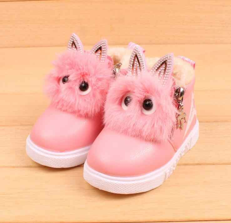 2019 winter new 1 to 5 years old girl baby shoes small Warm plush children  snow 3dcd56165d5c