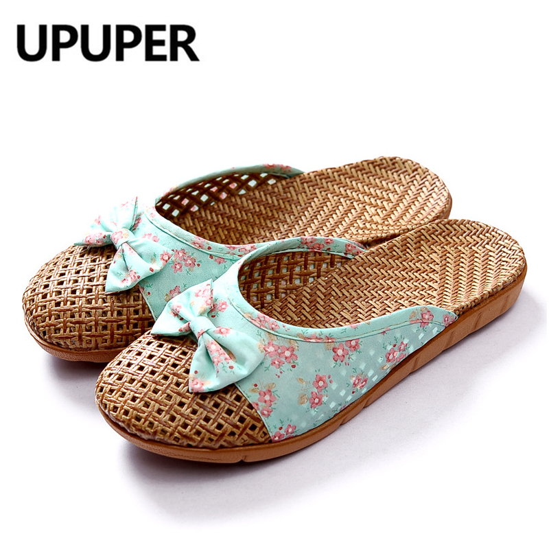 Summer Weaving Flax Home Slippers Women Rustic Style Refreshing Women's Shoes Cute Bow Weaving Breathable Sandals Flat Slides
