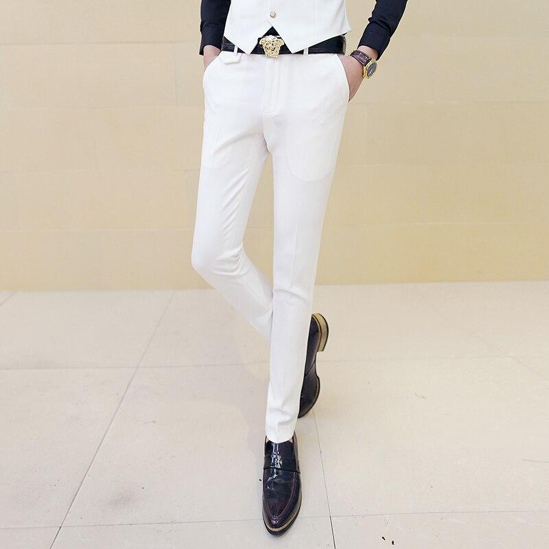 Для мужчин белое платье Брюки для девочек мужской Тощий Slim Fit Мотобрюки белый Для мужчин Брюки Мотобрюки мужской классический дизайнер брен...