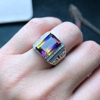 Natural Ametrine Men's Ring, Atmospheric, 925 Silver, Hollow Court Style