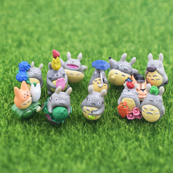9/12Pcs Kawaii Mini Tororo Animals Garden Ornament Miniature Figurine Plant Pots Fairy Dollhouse Decor DIY Craft Accessories