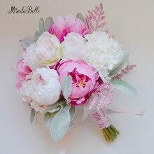 Свадебные букеты Розовый Белый Флорес искусственные пеньи шелковые свадебные аксессуары, букеты, украшения бесплатно бутоньерка для жениха