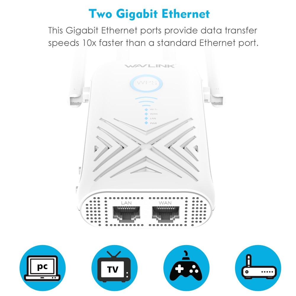 Wavlink 1200Mbps wifi répéteur Extender/amplificateur/routeur/Point d'accès Gigabit sans fil double bande 2.4G/5G externe 5dBi antennes - 5