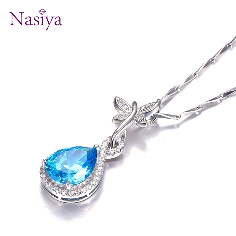Sterling Silver 925 Pendant Necklace For Women Fine Jewelry Blue Topaz Waterdrop For Wedding Engagement Party Valentine day