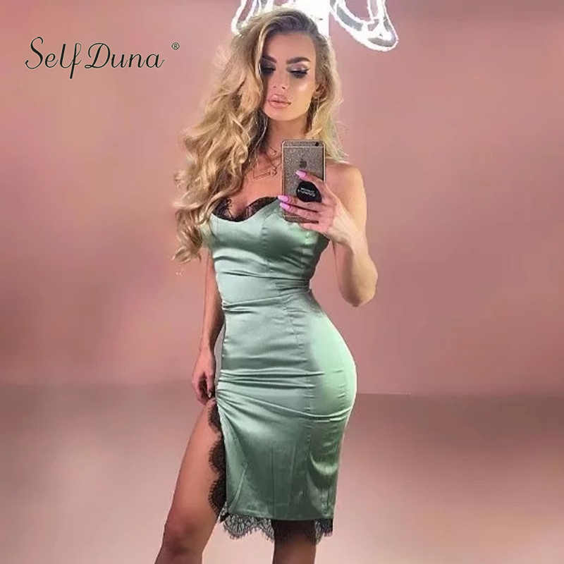73514b1e2d ... Self Duna 2018 Summer Women Satin Slip Dress Pencil Dresses Lace Split  Sleeveless Khaki Blue Female ...