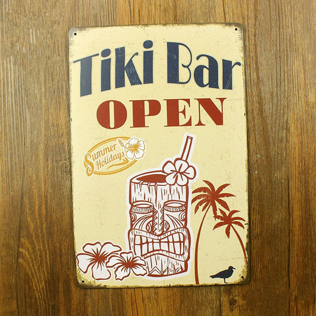 Tiki Bar Open Summer Holidays Metal Crafts Home Decor For Home Bar Coffee  Pub Wall Decoration