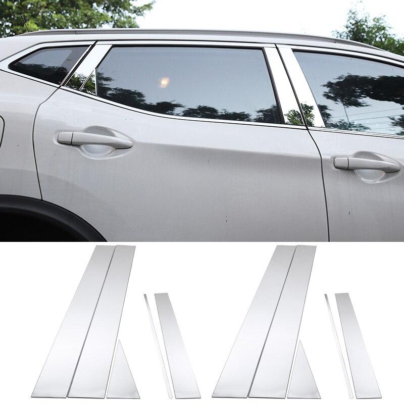 닛산 qashqai j11 2014 2015 2016 2017 2018 스테인레스 스틸 자동차 창 필러 포스트 커버 트림 스티커 외부 액세서리